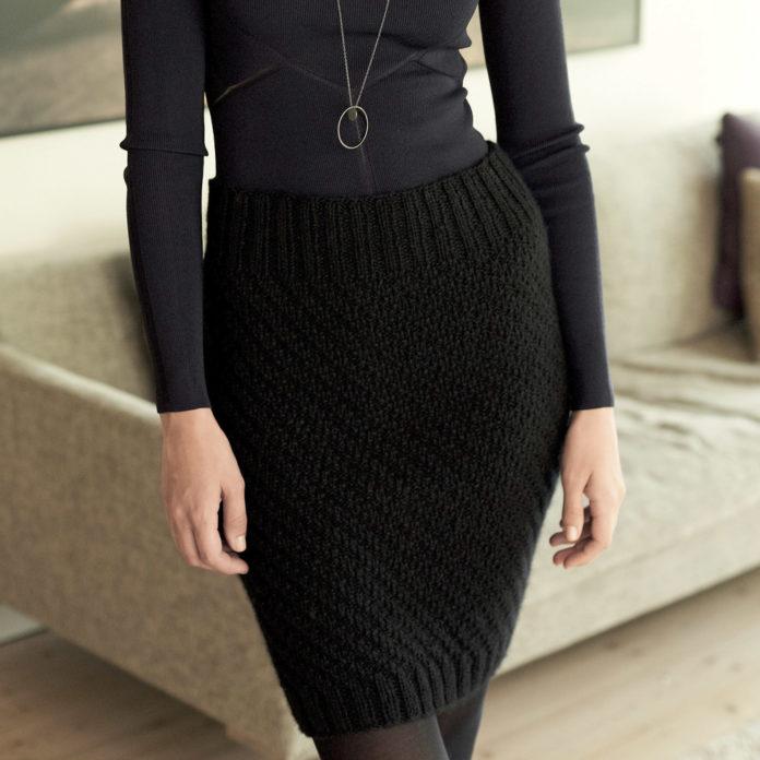 Черная юбка карандаш спицами схема вязания с подробным описанием