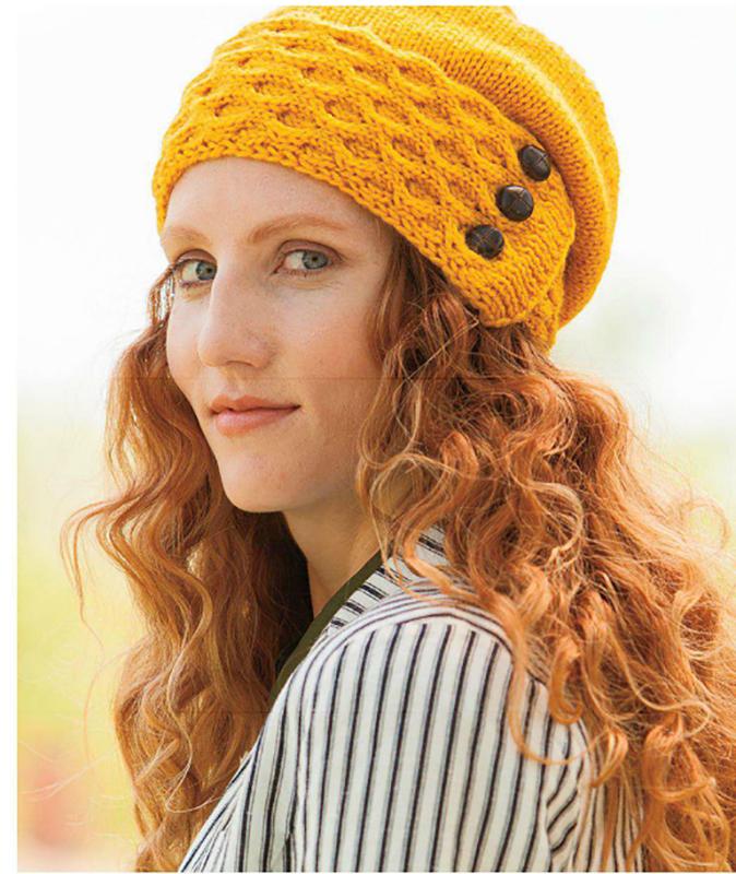 Желтая шапка спицами с узором из Сот схема вязания спицами
