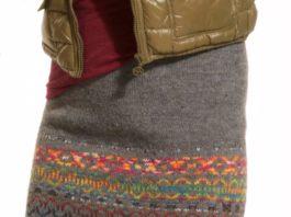 Жаккардовая юбка спицами из шерстяной пряжи