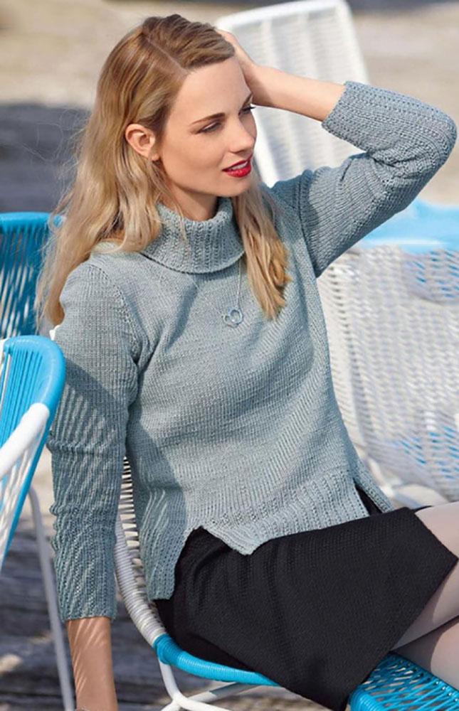 Классический свитер спицами с разрезами по бокам схема вязания с подробным описанием бесплатно