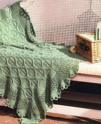 Уютный плед спицами схема вязания спицами