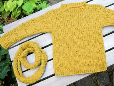 Стильный свитер для мальчика с шарфом схема вязания с подробным описанием