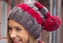 Полосатая шапка спицами с помпоном схема вязания спицами