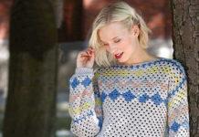 Теплый пуловер крючком в норвежском стиле схема вязания с подробным описанием для женщин