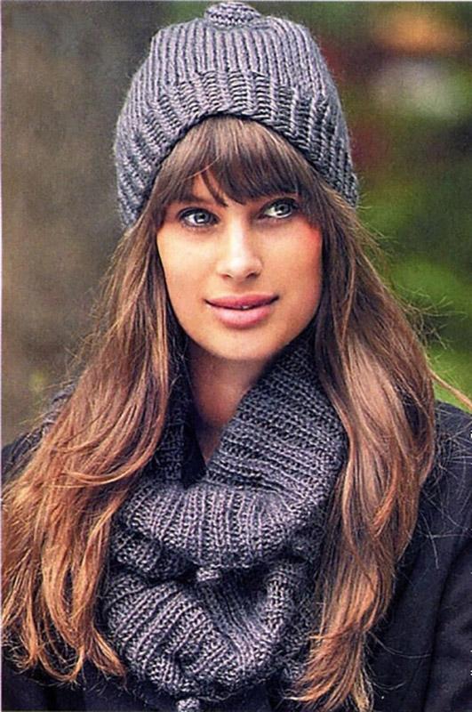 Серая шапка и шарф спицами схема вязания спицами с подробным описанием для женщин