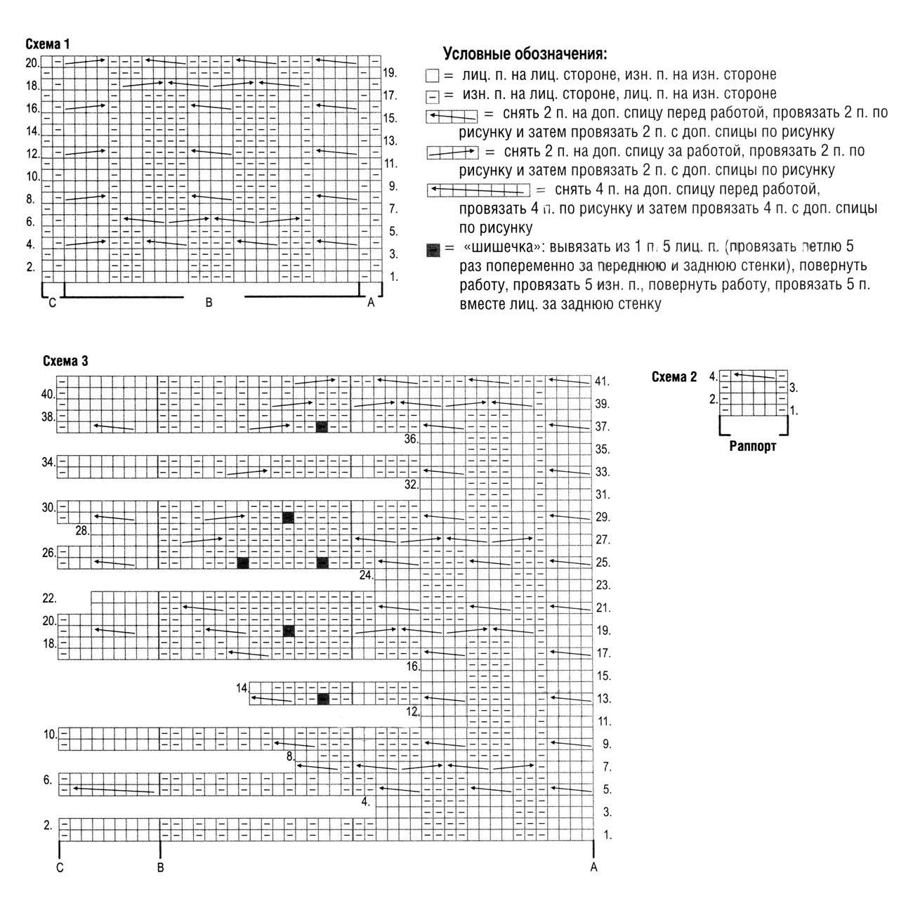 Женский жакет спицами с узорами из крупных Аранов схема вязания и условные обозначения