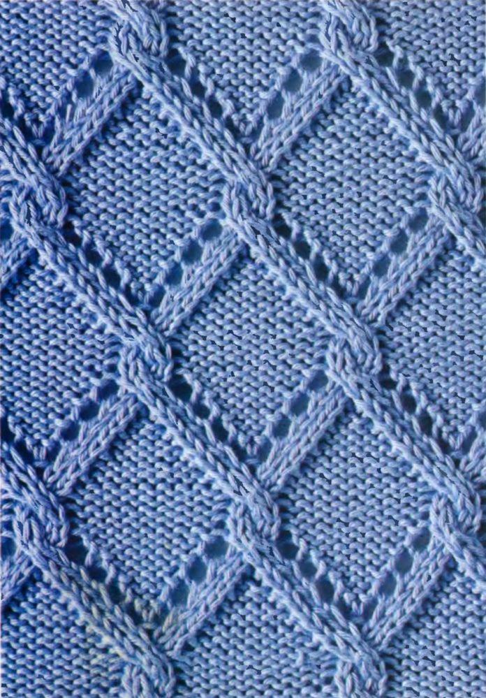 Схема вязания спицами Ажурный узор с ромбами с переплетением