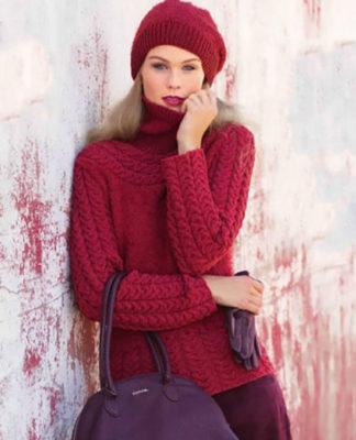 Малиновый пуловер и шапка спицами с узором из кос схема вязания с подробным описанием