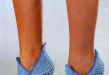 Голубые тапочки носочки спицами схема вязания спицами