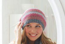 Цветная шапка и снуд спицами схема вязания с подробным описанием