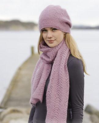 Шапка и шарф спицами нежно-розового цвета схема вязания спицами