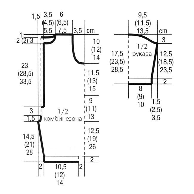 Полосатый комбинезон и шапочка для малыша спицами выкройка и схема вязания с подробным описанием бесплатно для малышей от 0 до 3
