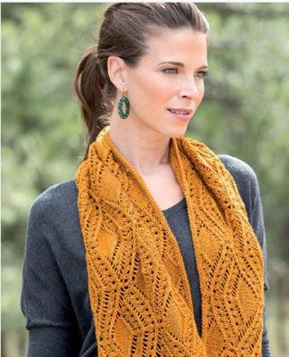 Ажурный шарф снуд спицами схема вязания спицами с подробным описанием для женщин