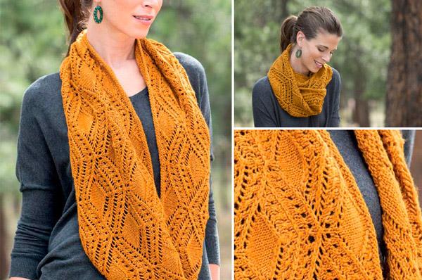 Ажурный шарф снуд спицами схема вязания спицами с подробным описанием