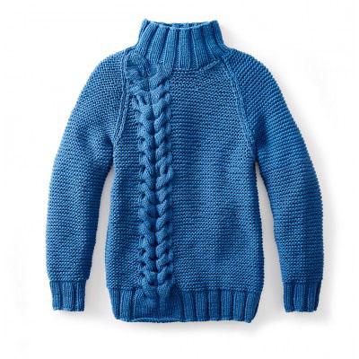 Женский свитер спицами с двойной косой с рукавом реглан и воротником стойкой схема вязания с подробным описанием