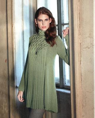 Мини-платье или туника спицами, расклешенная к низу