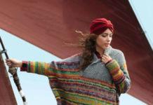 Цветной пуловер пончо спицами в стиле Оверсайз