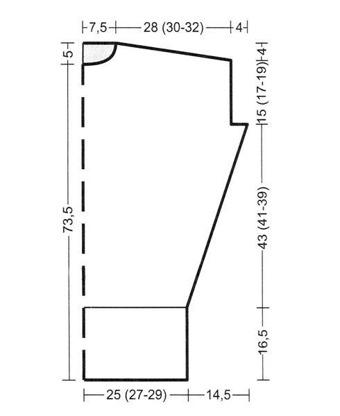 Платье кокон спицами с широким рукавом выкройка