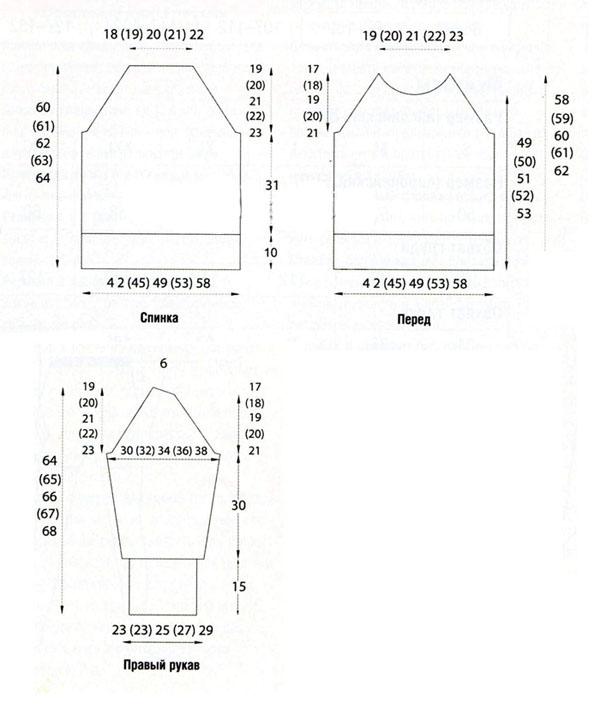 Шерстяной свитер спицами голубого цвета схема вязания с подробным описанием