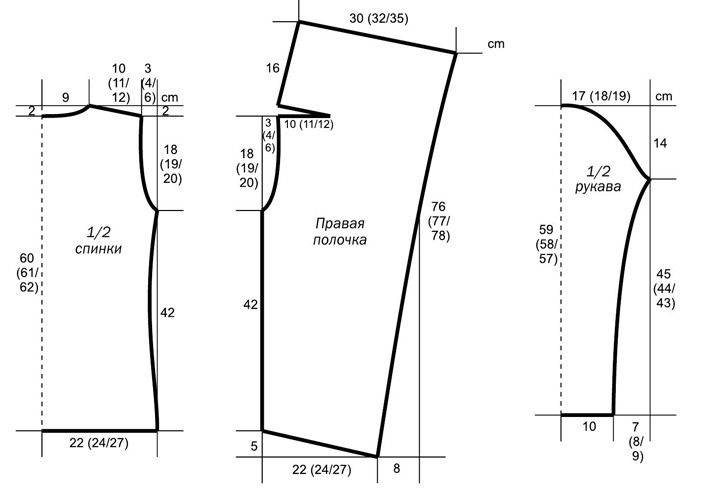 Жакет спицами с удлиненными полочками выкройка