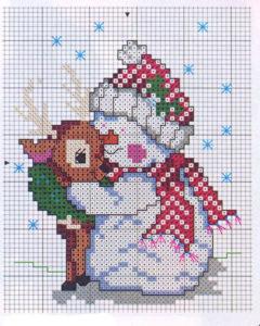 Новогодняя вышивка крестом Снеговик и Олененок
