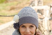 Комплект из шапочки с помпонами и теплого снуда спицами
