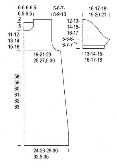 Платье туника спицами в широкую полоску выкройка