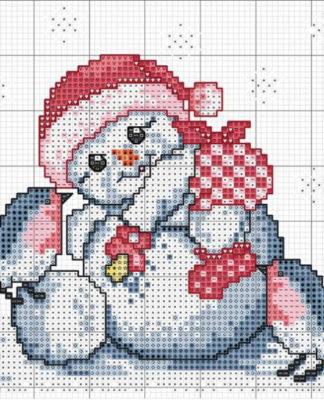 Новогодняя вышивка крестом Снеговичок и снегири