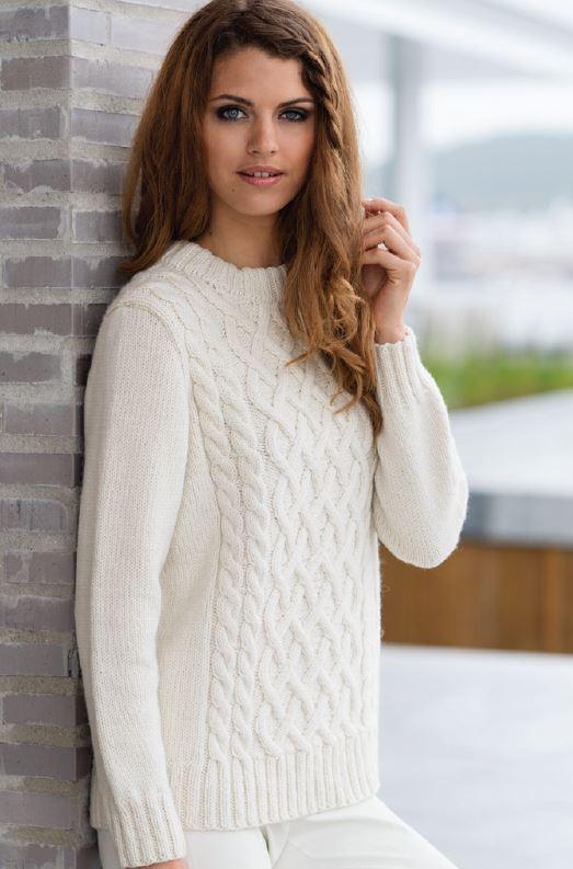 Белый пуловер спицами с аранами схема вязания спицами с подробным описанием для женщин бесплатно