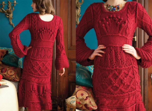 Красное платье спицами с разнообразием узоров