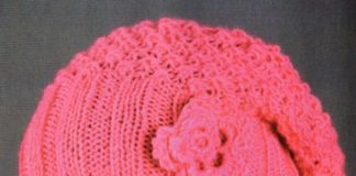 Розовая шапочка спицами с узором Рис