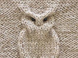 Схема вязания спицами узора Сова
