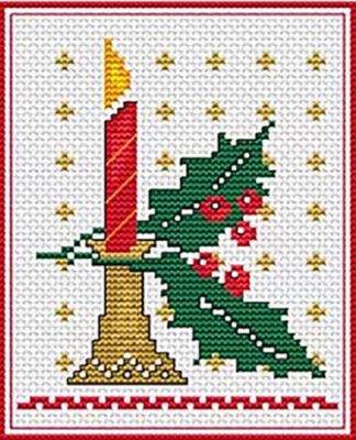 Вышивка крестом Свеча новогодняя схема