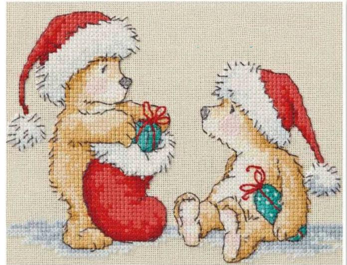 Новогодняя вышивка крестом Праздничные мишки