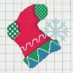 рождественский носок вышивка крестом схема