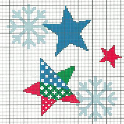 Схема вышивки крестом Звезды и Снежинки