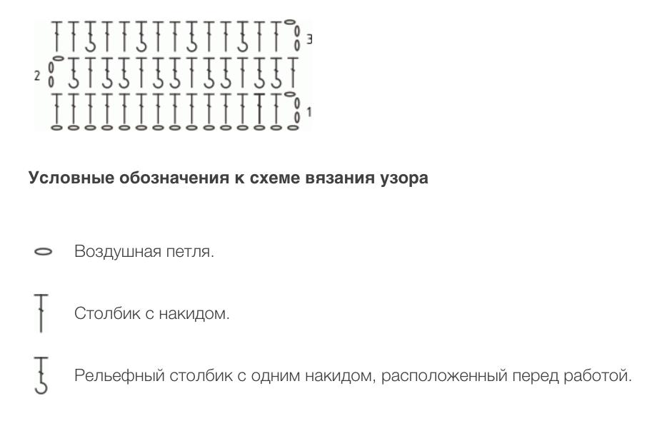 Схема узора крючком с описанием: Вафельный узор