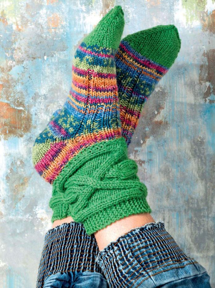 Пестрые носки спицами схема вязания спицами с подробным описанием