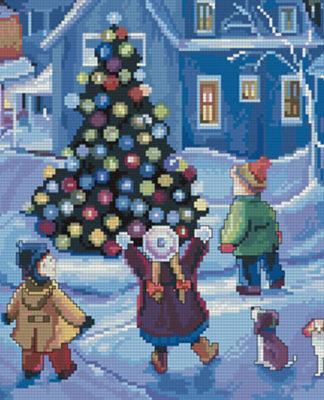 Картина Новогодняя елка схема вышивки крестом