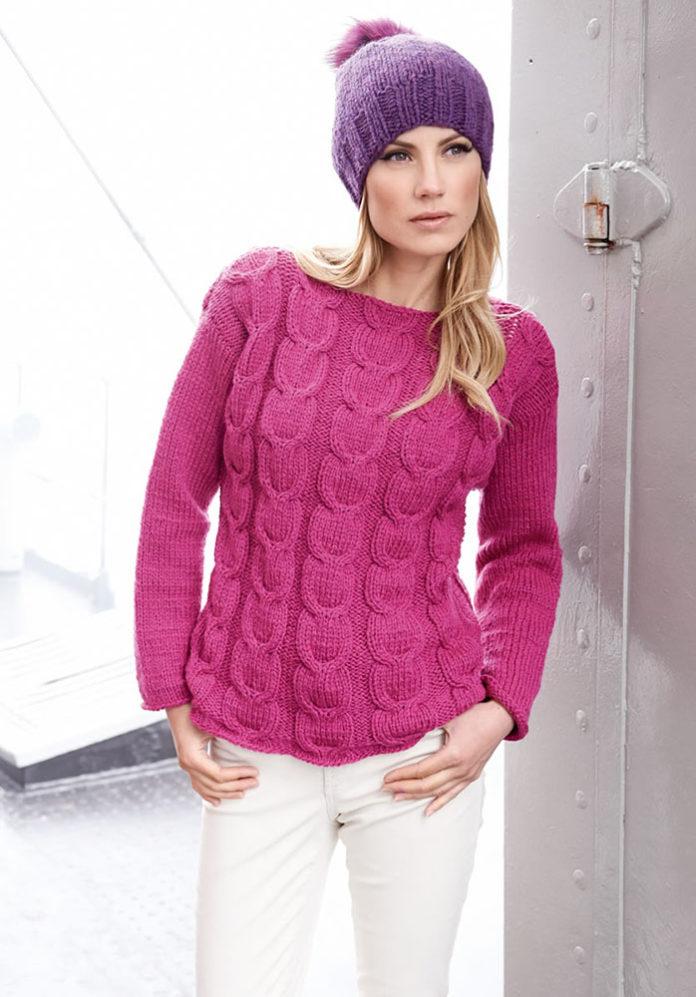 Розовый пуловер спицами с узором из кос схема вязания спицами с подробным описанием