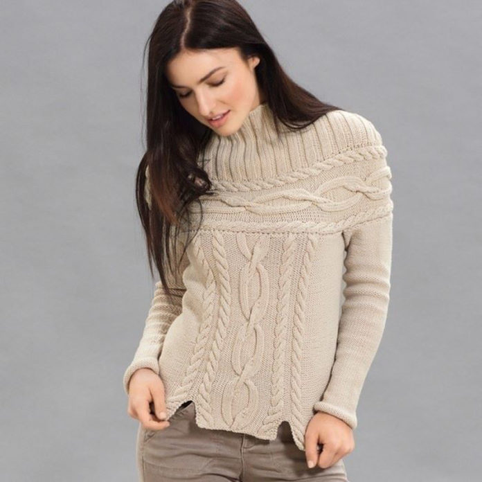 Пуловер спицами с кокеткой из кос и воротником стойка схема вязания спицами для женщин с подробным описанием бесплтано