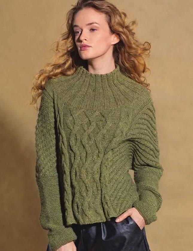 Пуловер спицами с круглой кокеткой и узором из кос схема вязания спицами с подобным описанием