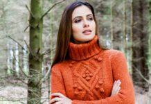Зимний свитер спицами с узором из шишечек схема вязания с подробным описанием