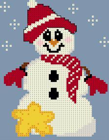 Вышивка крестом Снеговик со звездой схема