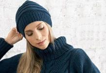 Свитер спицами с узором из кос и стильная шапочка схема вязания с подробным описанием для женщин спицами