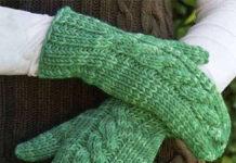 Варежки спицами с узором Коса схема вязания спицами с подробным описанием