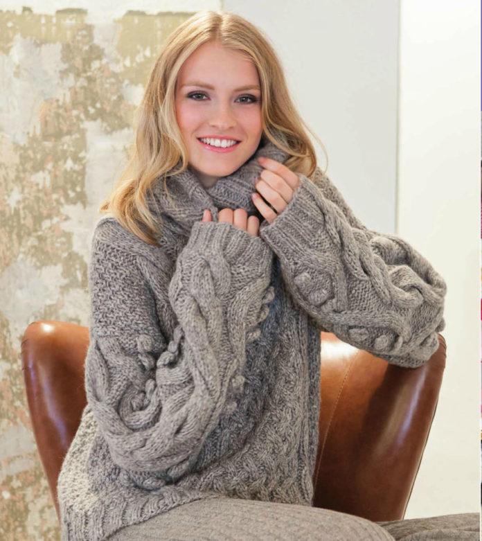 Серый пуловер оверсайз спицами