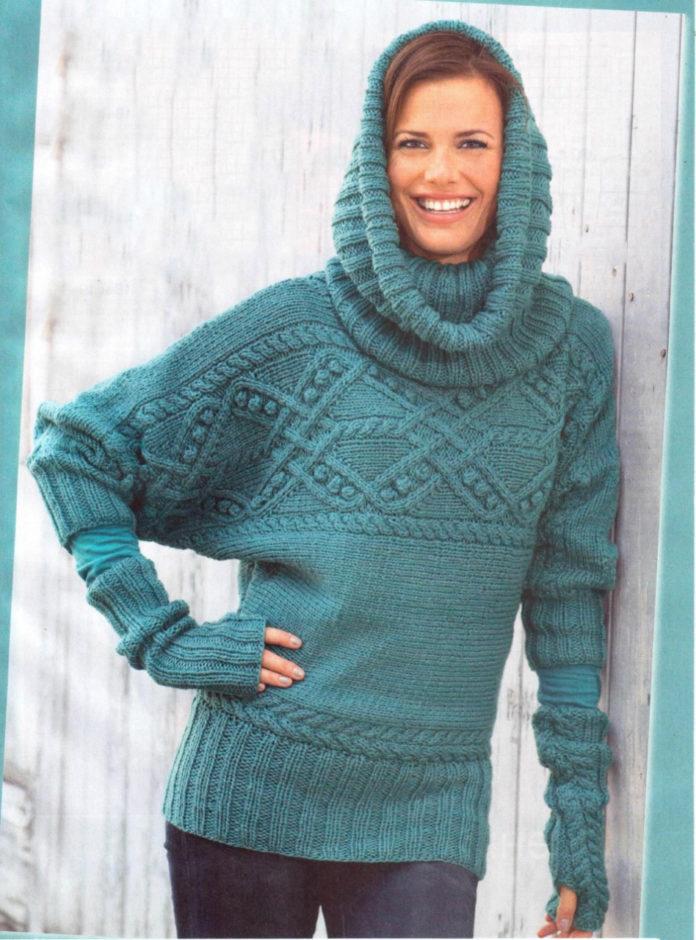 Пуловер спицами с объемным узором, шарф-хомут и митенки схема вязания с подробным описанием