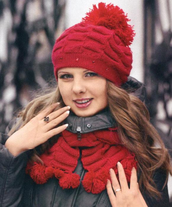Шапка и шарф спицами с узором «Шахматы»
