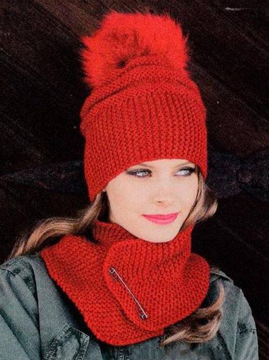 Объемная шапка с меховым помпоном и шарф спицами